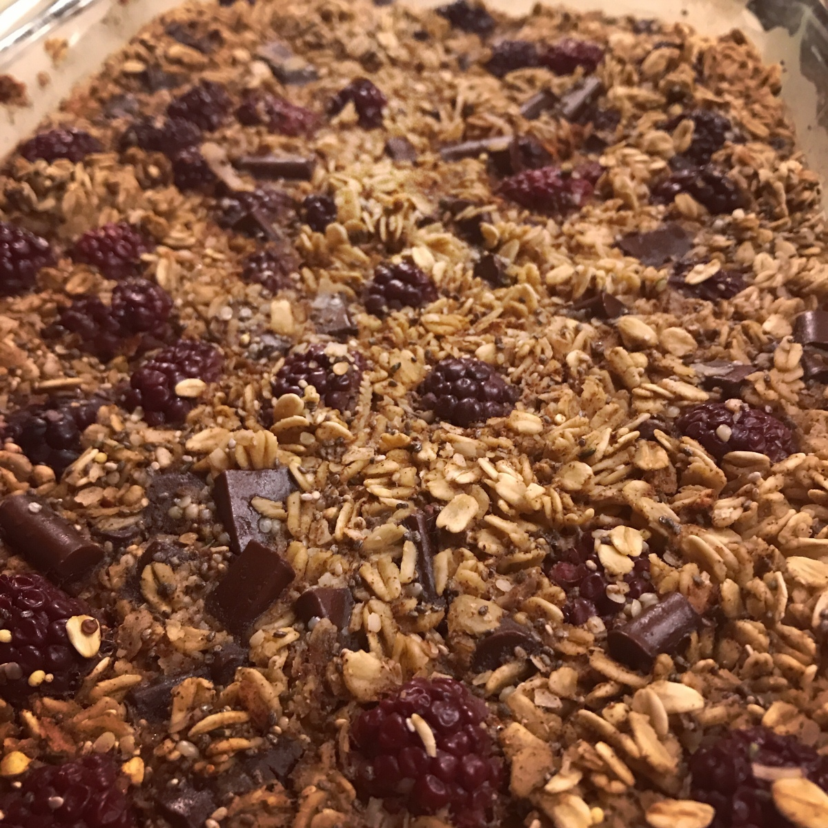 Blackberry, chocolate and coconut baked oatmeal